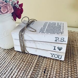 Hand Stamped Book Stack P.S I LOVE YOU Heart Decor
